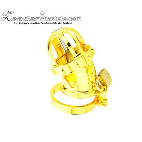 Cage de chasteté plaquée OR RING 48 mm + plug urètre amovible